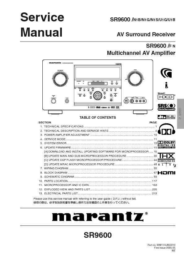 Marantz SR9600 AV multichannel amp pdf Marantz SR9600 AV multichannel amp pdf