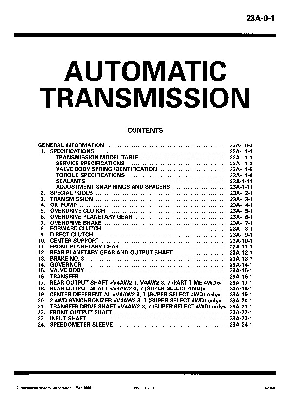 RWD Auto Transmission Workshop Manual Worldwide PWEE8920-ABCDEFGHI 23A pdf FORD