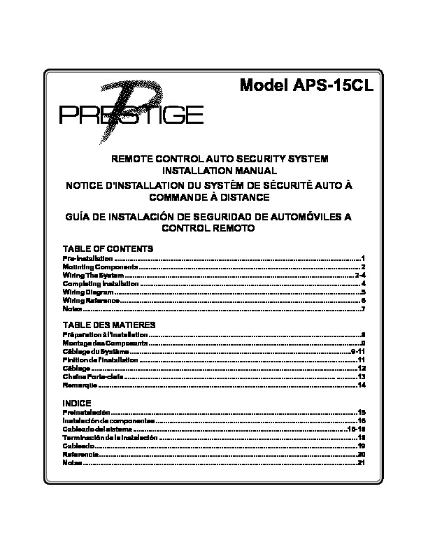 Prestige APS 15CL Installation Manual pdf Prestige APS 15CL Installation Manual pdf