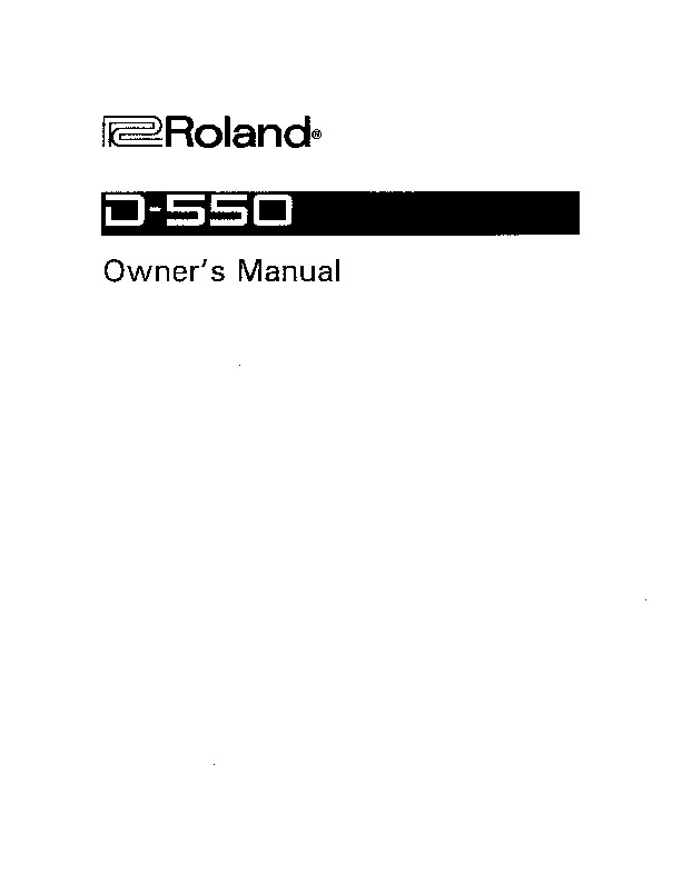 Roland D 550 Manual del Usuario pdf Roland D 550 Manual del Usuario pdf