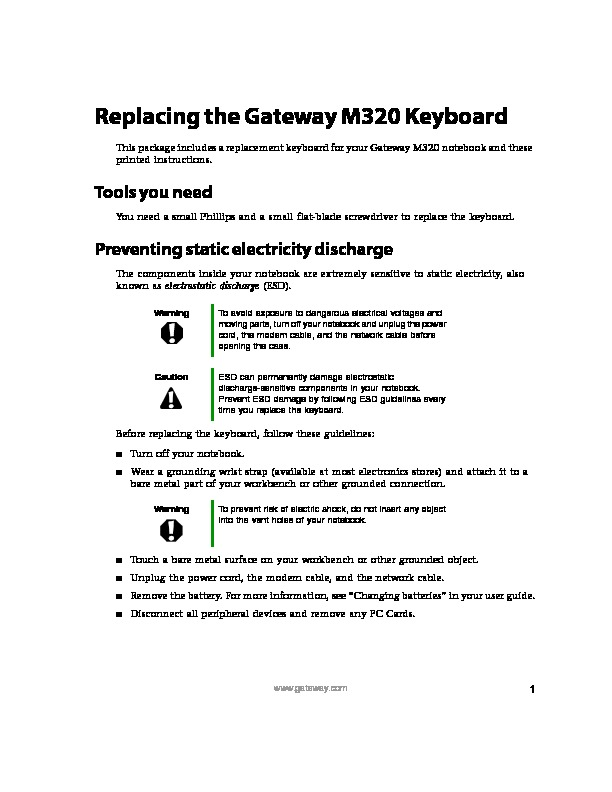 M320 REMOVE REPLACE KEYBOARD pdf Gateway