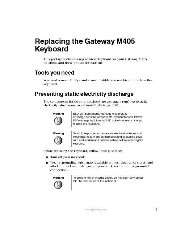 M405 REMOVE REPLACE KEYBOARD pdf Gateway