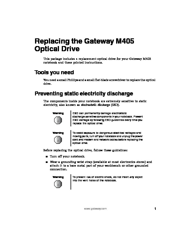 M405 REMOVE REPLACE OPTICAL DRIVE pdf Gateway