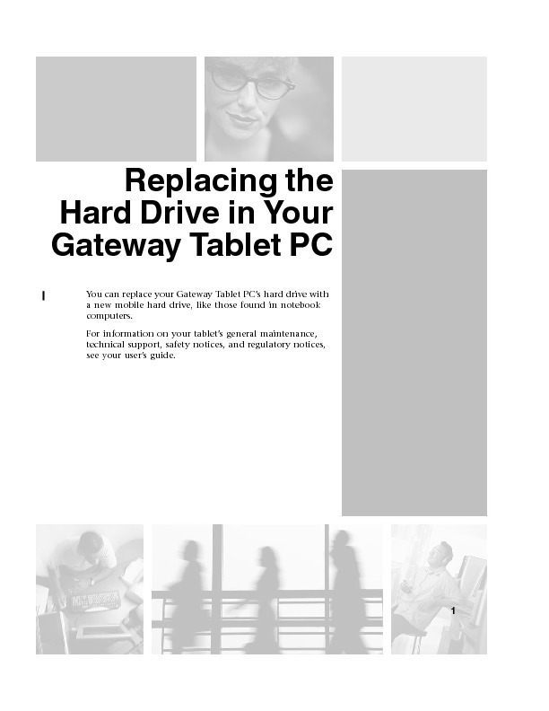 TABLET PC REMOVE REPLACE HARD DRIVE pdf Gateway