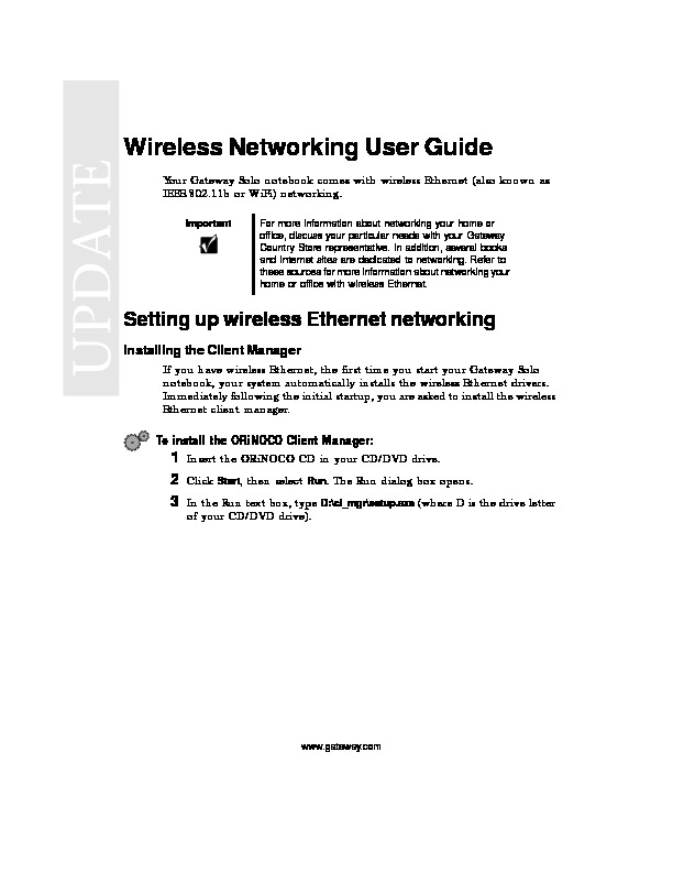 WIRELESS NETWORKING USER GUIDE pdf Gateway