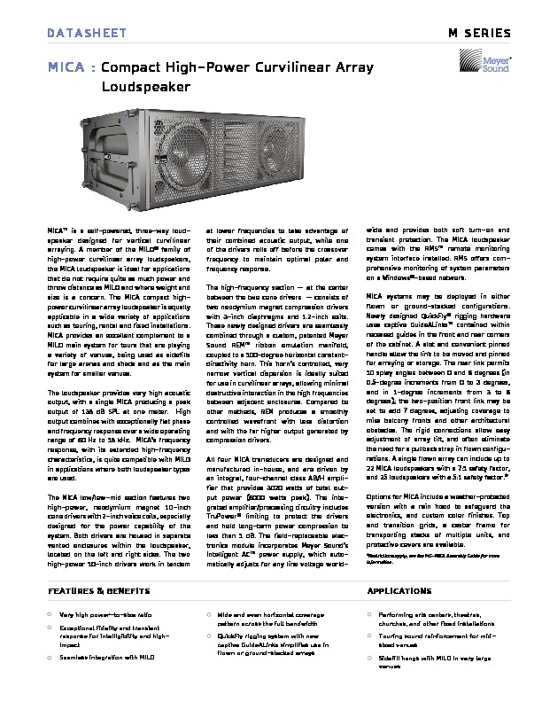 Meyer Sound MICA Compact High Power Curvilinear Array.pdf