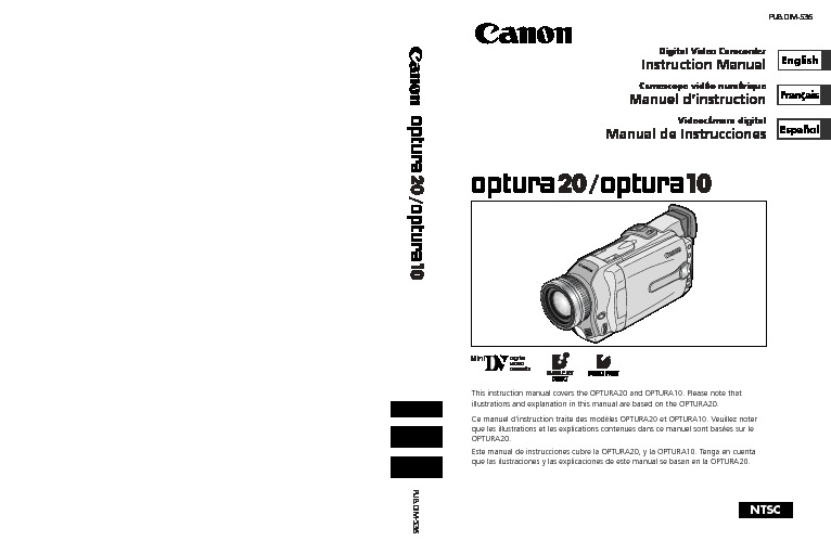 Canon Optura 10 133 Megapixel MiniDV Camcorder with Manual.pdf
