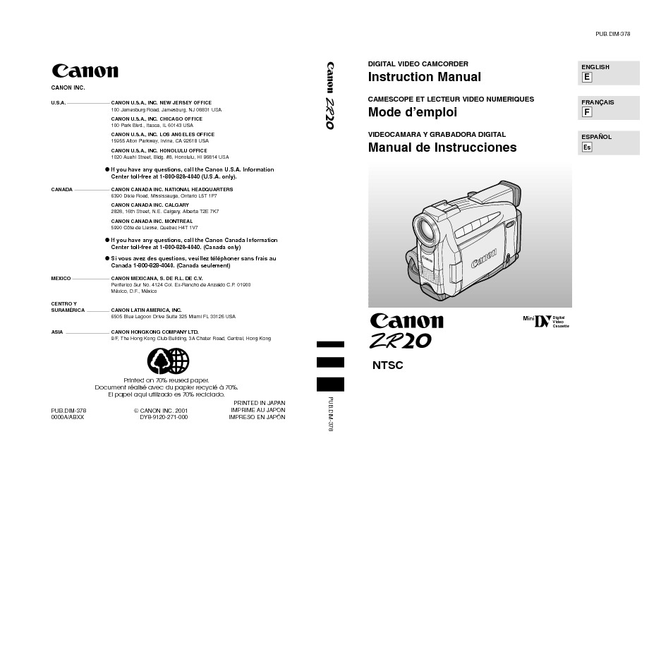 Canon ZR20 Digital Camcorder Manual.pdf