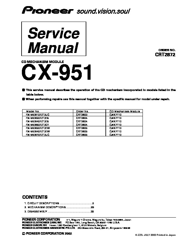 CX 951, CX 951 cd mechanism module.pdf