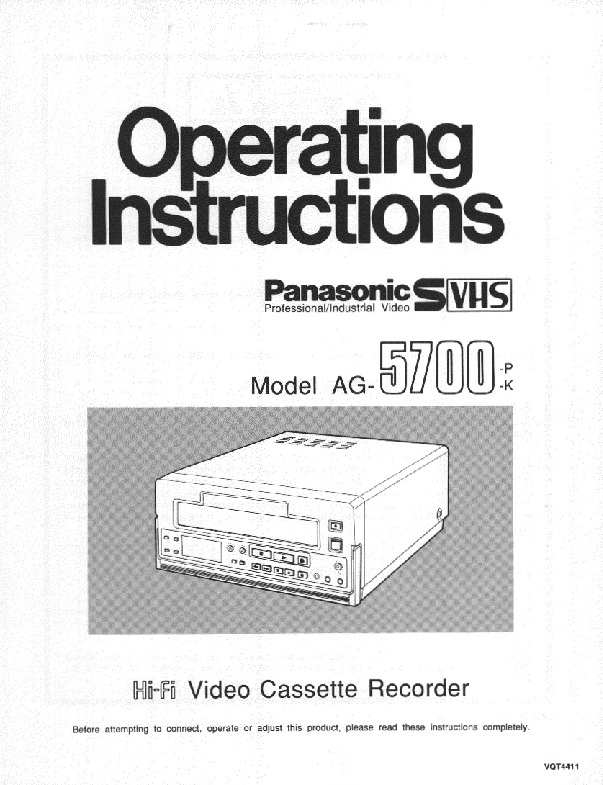 Panasonic AG-5700P-K Operating Instructions.PDF Panasonic AG-5700