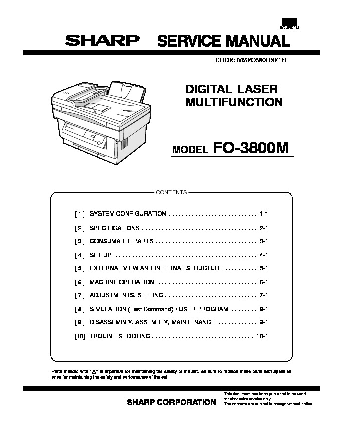 Sharp Fax FO3800SM Manual de Servicio.PDF sharp