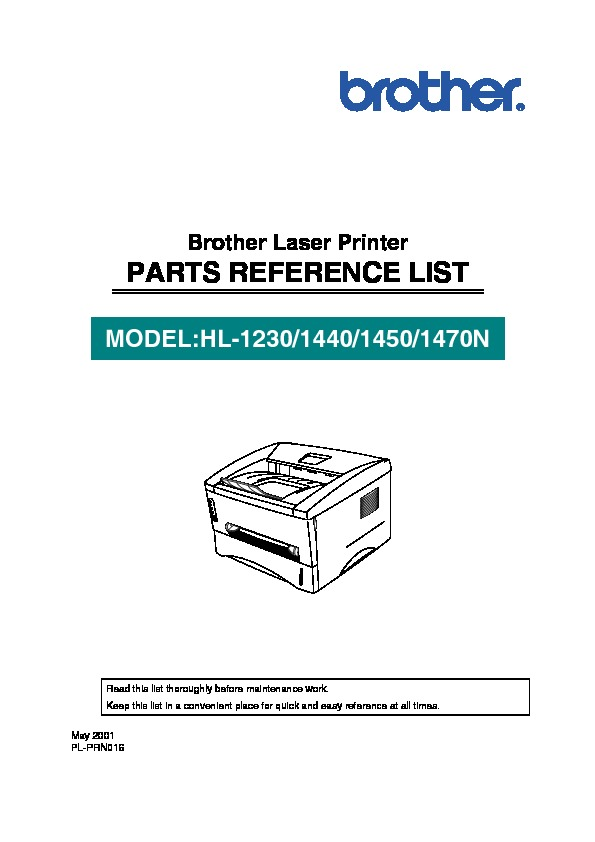 Brother HL 1230, 1440, 1450, 1470n Parts Manual pdf Brother HL 1230, 1440, 1450, 1470n Parts Manual pdf