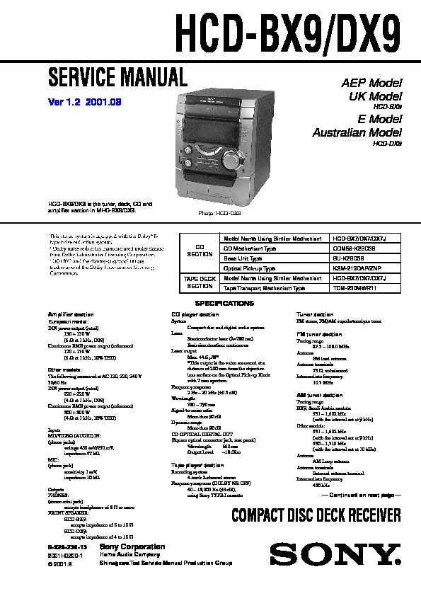 hcd bx9 dx9 sony COMPACT DISC DECK RECEIVER.pdf