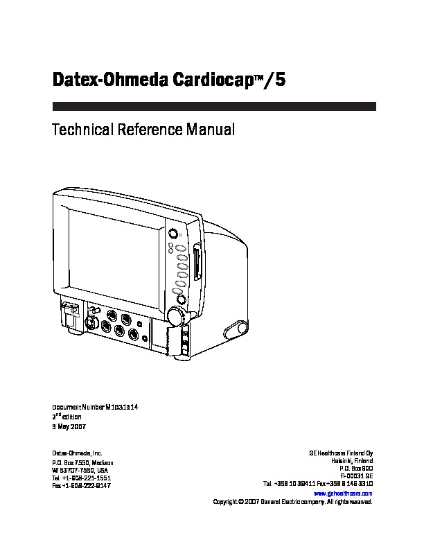 Technical Manual Cardiocap 5 pdf Technical Manual Cardiocap 5 pdf