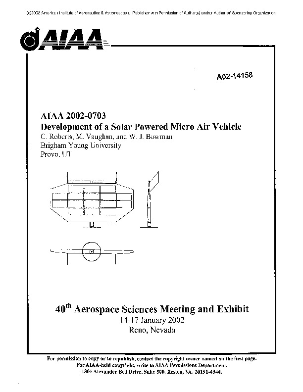 Solar Cell Micro Air Vehicle pdf Solar Cell Micro Air Vehicle pdf