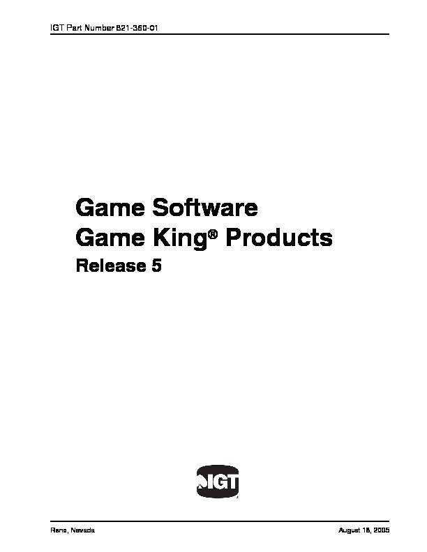 Manual IGT game king pdf Manual IGT game king pdf