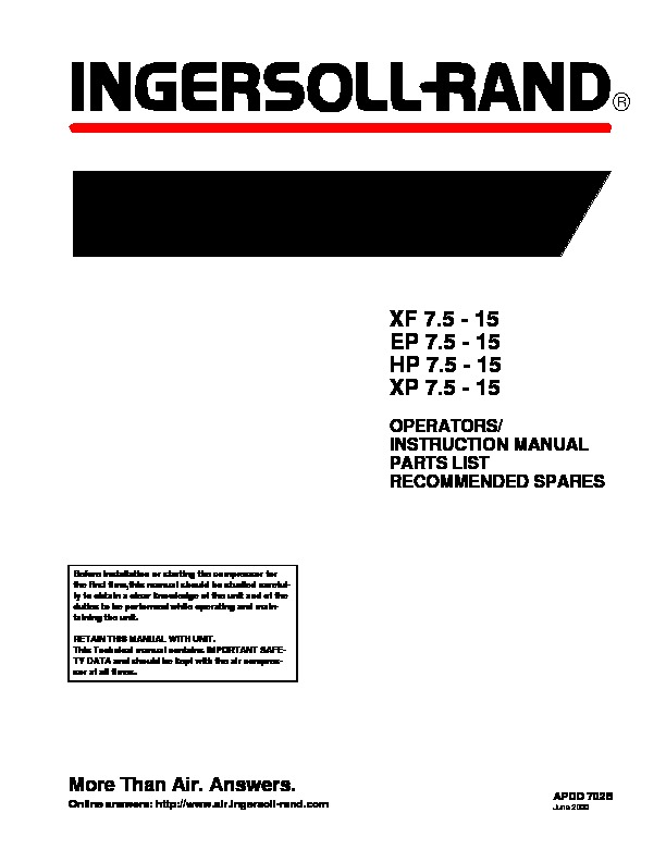 Manual comp ingersollrand SSR 15 pdf Manual comp ingersollrand SSR 15 pdf