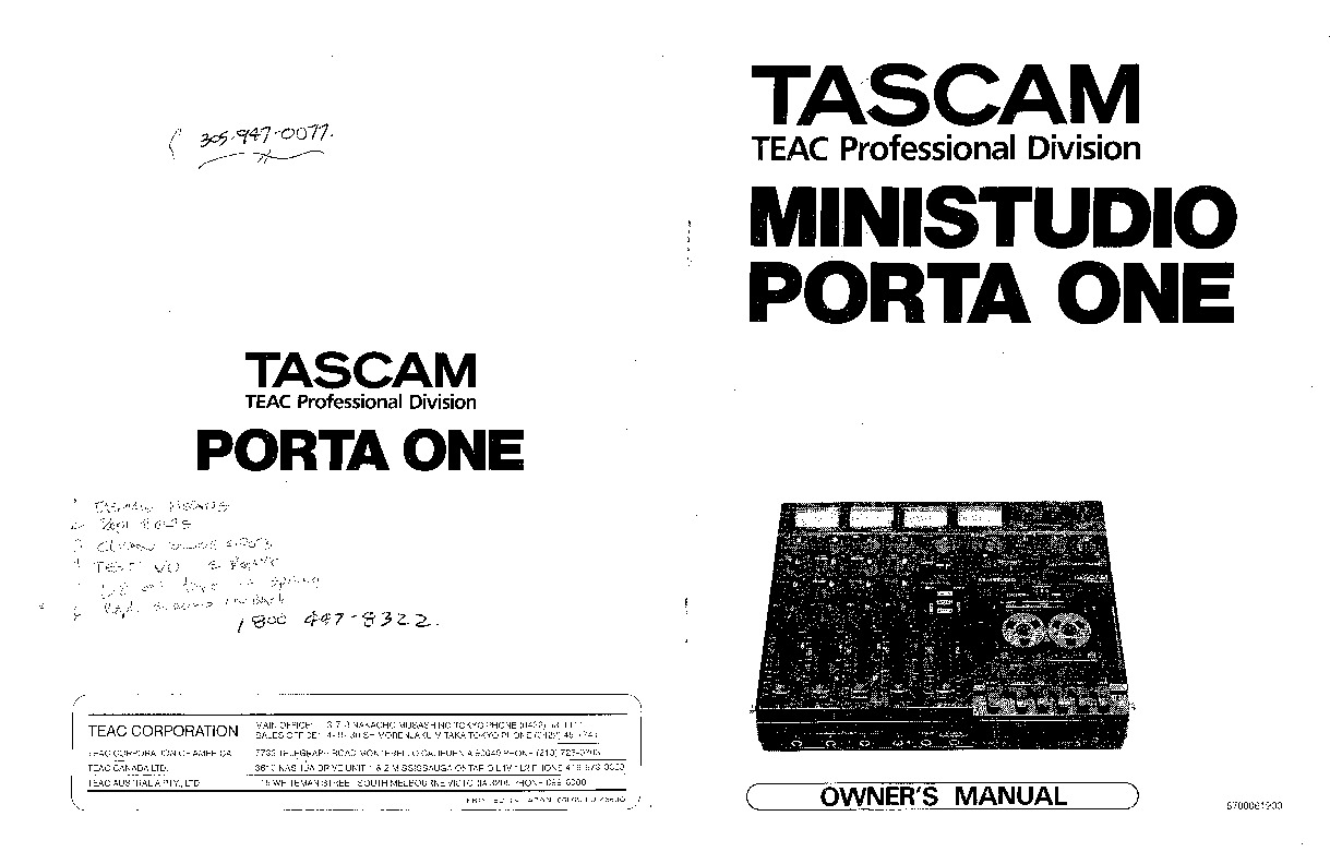 Tascam Porta One User Manual pdf Tascam Porta One User Manual pdf