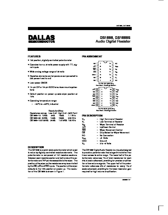 Volume Control   Dallas DS1666 Audio Digital Resistor pdf Volume Control   Dallas DS1666 Audio Digital Resistor pdf