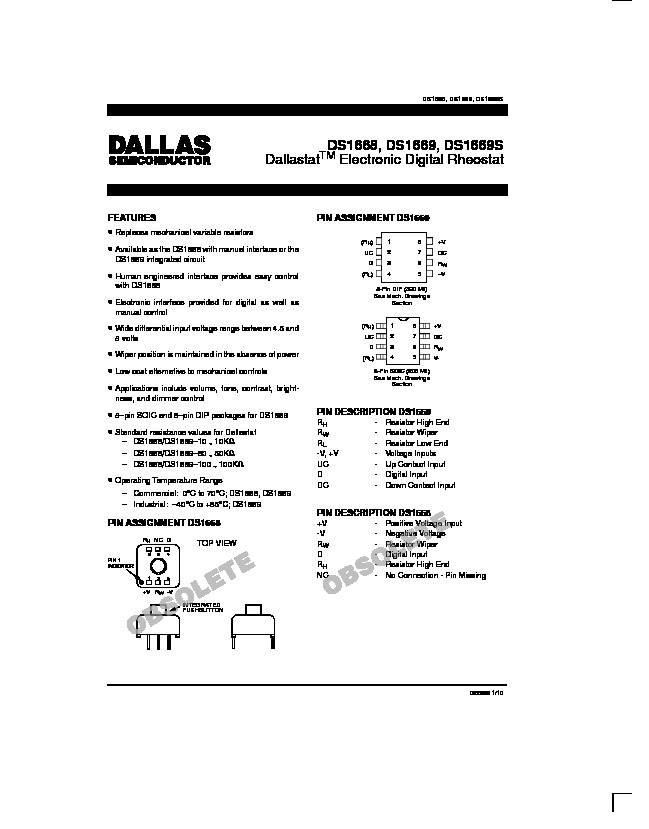 Volume Control   Dallas DS1669 Electronic Digital Rheostat pdf Volume Control   Dallas DS1669 Electronic Digital Rheostat pdf