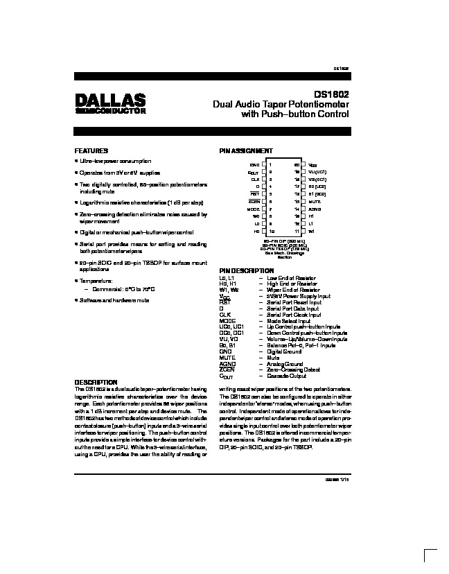 Volume Control   Dallas DS1802 Dual Audio Taper Potentiomete pdf Volume Control   Dallas DS1802 Dual Audio Taper Potentiomete pdf