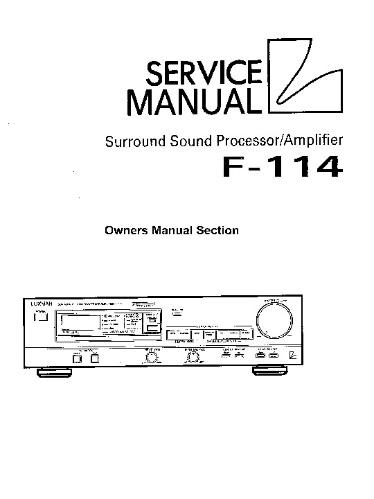 Luxman F114 Owners Manual pdf Luxman F114 Owners Manual pdf